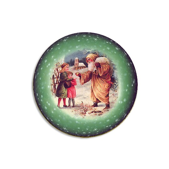 Medium Santa and Children Papier Mache Ball Box Ornament ~ Green
