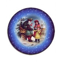 Medium Santa and Children Papier Mache Ball Box Ornament ~ Blue