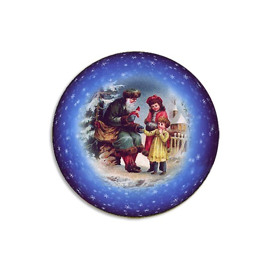Santa and Children Papier Mache Ball Box Ornament ~ Blue