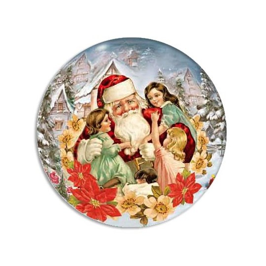 Small Santa with Children Papier Mache Ball for Filling
