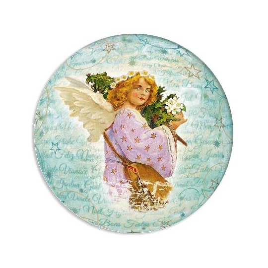 Angel with Tree Papier Mache Ball Box for Filling