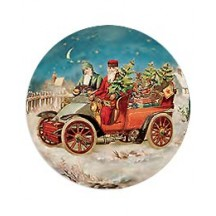 Two Santas by Motorcar Papier Mache Ball Box Ornament