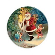 Santa and Angels Papier Mache Ball Box Ornament