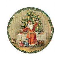 Santa and Tree Papier Mache Ball Box Ornament