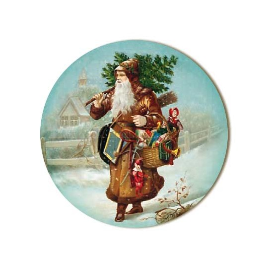 Small Victorian Santa with Tree Papier Mache Ball Box Ornament