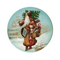 Medium Victorian Santa with Tree Papier Mache Ball Box Ornament