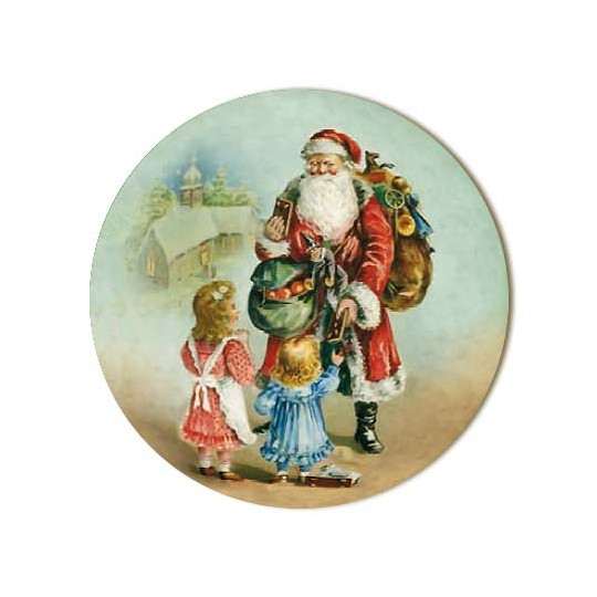 Small Victorian Santa and Children Papier Mache Ball Box Ornament