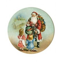 Medium Victorian Santa and Children Papier Mache Ball Box Ornament