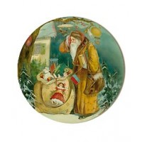 Meduim Victorian Santa with Toys Papier Mache Ball Box Ornament