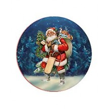 Small Santa with Sleigh Papier Mache Ball Box Ornament