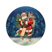 Medium Santa with Seligh Papier Mache Ball Box Ornament