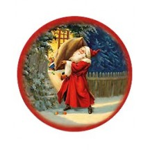 Medium Classic Santa with Gifts Papier Mache Ball Box Ornament