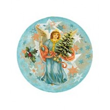 Small Angel with Tree on Blue Papier Mache Ball Box Ornament