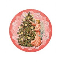 Small Christmas Angel with Tree  on Pink Papier Mache Ball Box Ornament