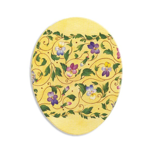 "7"" Papier Mache Yellow Pansy Easter Egg Container ~ Germany"