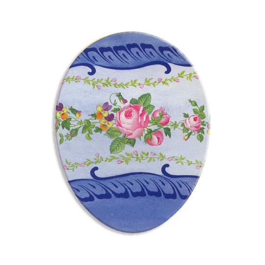 "4 1/2"" Papier Mache Blue Floral Easter Egg Container ~ Germany"