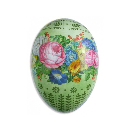 "4 1/2"" Papier Mache Green Floral Easter Egg Container ~ Germany"