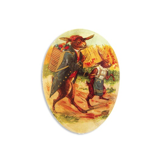 "3 1/2"" Papier Mache Victorian Bunnies Easter Egg Container ~ Germany"