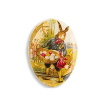 "3 1/2"" Papier Mache Traveling Bunny Easter Egg Container ~ Germany"