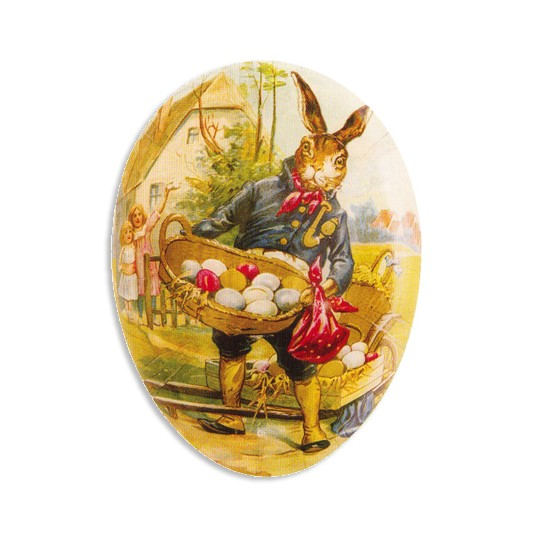 "4 1/2"" Papier Mache Traveling Bunny Easter Egg Container ~ Germany"