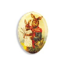"3 1/2"" Papier Mache Mama Bunny Easter Egg Container ~ Germany"