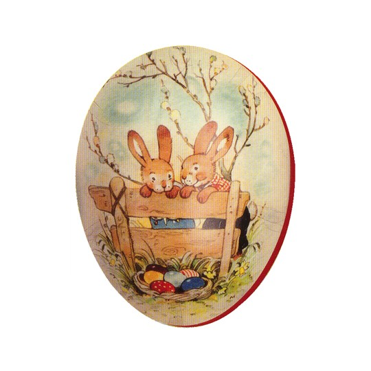 "3 1/2"" Papier Mache Bunnies Easter Egg Container ~ Germany"