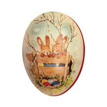 "4 1/2"" Papier Mache Bunnies Easter Egg Container ~ Germany"