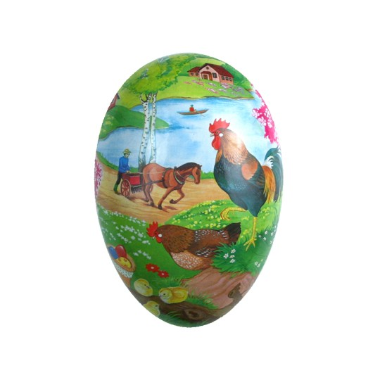 "4 1/2"" Papier Mache Rooster Lake Easter Egg Container ~ Germany"