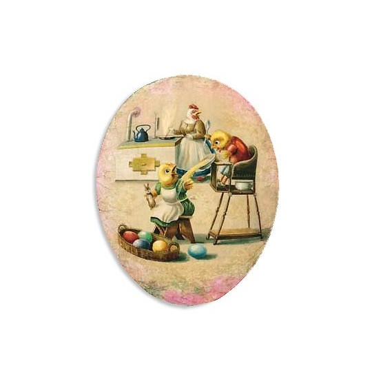 "6"" Papier Mache Chicks Breakfast Egg Container ~ Germany"
