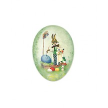 "3-1/2"" Green Papier Mache Easter Egg Container with Vintage Artist Bunny and Eggs ~ Germany"