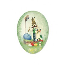 "4-1/2"" Green Papier Mache Easter Egg Container with Vintage Artist Bunny and Eggs ~ Germany"