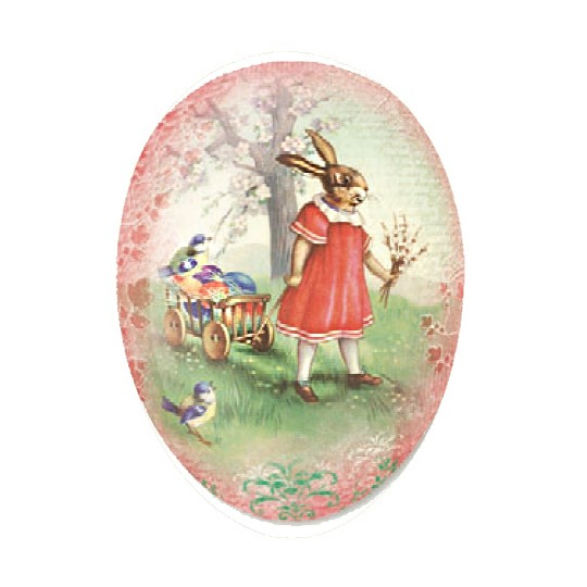 "3-1/2"" Pink Papier Mache Easter Egg Container with Vintage Bunny and Egg Cart ~ Germany"