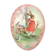 "6"" Pink Papier Mache Easter Egg Container with Vintage Bunny and Egg Cart ~ Germany"