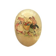 "4-1/2"" Vintage Bunny Basket Papier Mache Easter Egg Container ~ Germany"