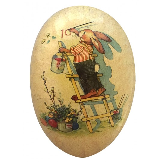 "4-1/2"" Vintage Bunny Painter Papier Mache Easter Egg Container ~ Germany"