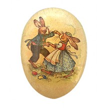 "6"" Vintage Bunny Dancers Papier Mache Easter Egg Container ~ Germany"