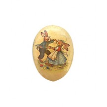 "3-1/2"" Vintage Bunny Dancers Papier Mache Easter Egg Container ~ Germany"
