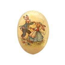 "4-1/2"" Vintage Bunny Dancers Papier Mache Easter Egg Container ~ Germany"