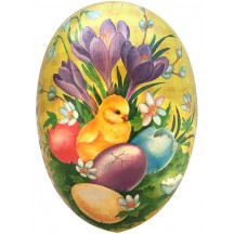 "7"" Yellow Crocus and Chick Papier Mache Easter Egg Container ~ Germany"