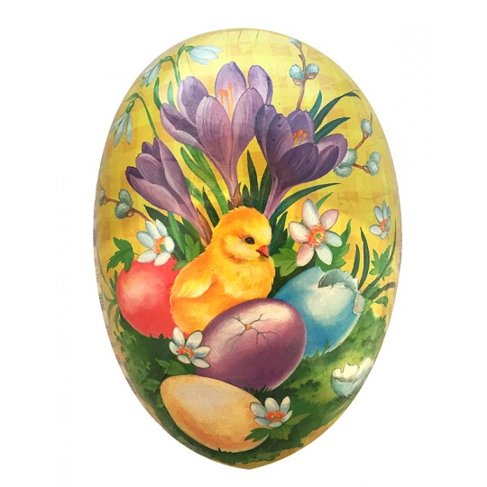 "4-1/2"" Yellow Crocus and Chick Papier Mache Easter Egg Container ~ Germany"