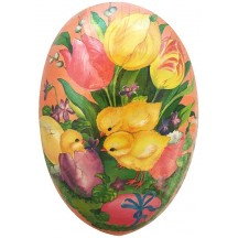 "7"" Pink Tulips and Chick Papier Mache Easter Egg Container ~ Germany"