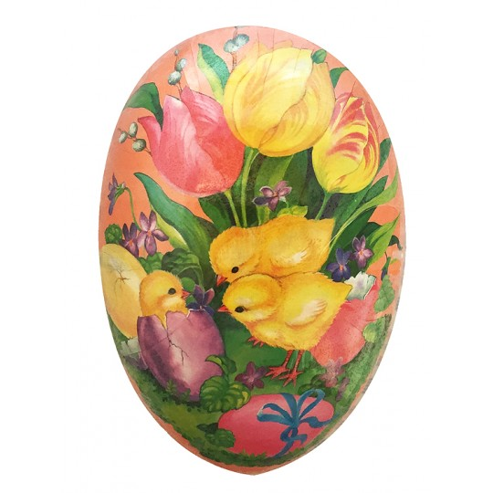 "3-1/2"" Pink Tulips and Chick Papier Mache Easter Egg Container ~ Germany"