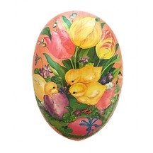 "6"" Pink Tulips and Chick Papier Mache Easter Egg Container ~ Germany"