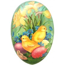 "7"" Mint Daffodils and Chicks Papier Mache Easter Egg Container ~ Germany"
