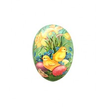 "3-1/2"" Mint Daffodils and Chicks Papier Mache Easter Egg Container ~ Germany"