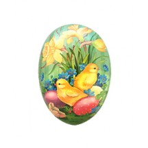 "4-1/2"" Mint Daffodils and Chicks Papier Mache Easter Egg Container ~ Germany"