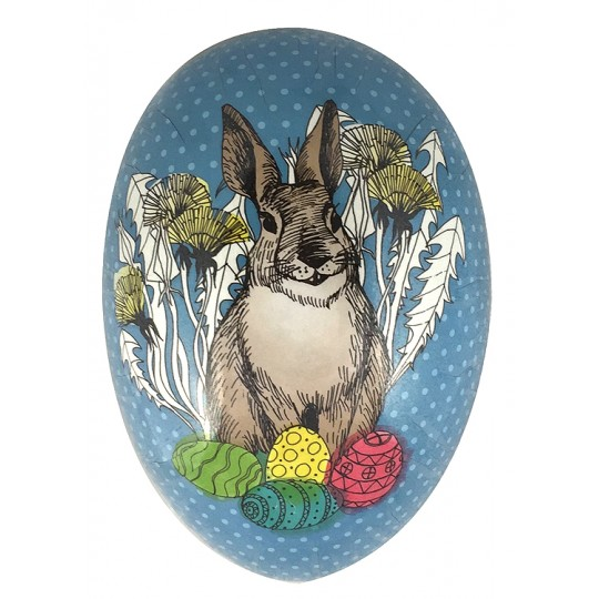"6"" Blue Bunny with Eggs Basket Papier Mache Easter Egg Container ~ Germany"