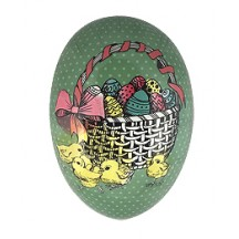 "6"" Green Chicks and Egg Basket Papier Mache Easter Egg Container ~ Germany"