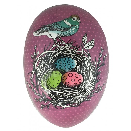 "6"" Purple Bird and Nest Papier Mache Easter Egg Container ~ Germany"