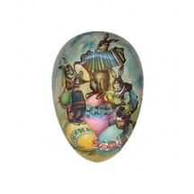 "4-1/2"" Vintage Easter Bunny Band Papier Mache Easter Egg Container ~ Germany"